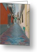 Puerto Rico Pastels Greeting Cards - Street in Old San Juan of Puerto Rico Greeting Card by Dana Schmidt