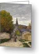 Sunday Greeting Cards - Street in Sainte Adresse Greeting Card by Claude Monet