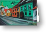 Orange Pastels Greeting Cards - Street In Transylvania 2 Greeting Card by EMONA Art