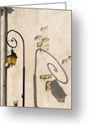 Aged Pyrography Greeting Cards - Street Lamp And Shadow Greeting Card by Igor Kislev