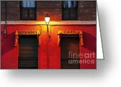 Generic Greeting Cards - Street Lamp Cafe Greeting Card by John Greim