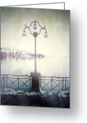 Thriller Greeting Cards - Street Lamp Greeting Card by Joana Kruse