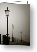 Old Street Greeting Cards - Street Lamps Greeting Card by David Bowman