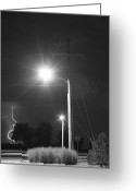 Lightning Bolt Pictures Greeting Cards - Street Light  Lightning in Black and White Greeting Card by James Bo Insogna