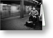 Manhattan Street Scenes Greeting Cards - Street Musician in Subway Station in New York City Greeting Card by Ilker Goksen