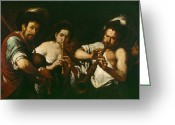 Street Musicians Greeting Cards - Street Musicians Greeting Card by Bernardo Strozzi