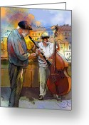 Street Musicians Greeting Cards - Street Musicians in Prague in the Czech Republic 01 Greeting Card by Miki De Goodaboom