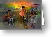 Street Musicians Greeting Cards - Street Musicians in Prague in the Czech Republic 03 Greeting Card by Miki De Goodaboom