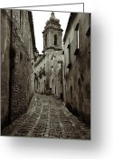 Old Street Photo Greeting Cards - Street of Erice Greeting Card by RicardMN Photography