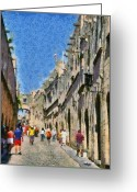 Knights Castle Painting Greeting Cards - Street of knights Greeting Card by George Atsametakis
