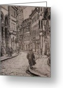 Prague Pastels Greeting Cards - Street of Prague Greeting Card by Gordana Dokic Segedin