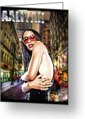 Superstar Mixed Media Greeting Cards - Street Phenomenon Aaliyah Greeting Card by The DigArtisT