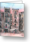 Market Greeting Cards - Street Scene At Twilight Greeting Card by Arline Wagner