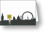 Social Comment Greeting Cards - Street Scene Greeting Card by Francis Charlton