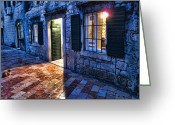 Interface Images Greeting Cards - Street scene in ancient Kotor Montenegro Greeting Card by David Smith