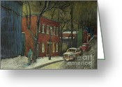 Streets Drawings Greeting Cards - Street Scene in Pointe St. Charles Greeting Card by Reb Frost