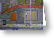 Drain Painting Greeting Cards - Street scene onto open space at night. Greeting Card by Lowen Hardy