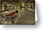Old Street Greeting Cards - Street Seat Greeting Card by Evelina Kremsdorf