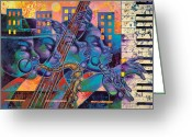 Black Art Greeting Cards - Street Songs Greeting Card by Larry Poncho Brown