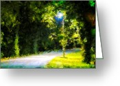Johnny Trippick Greeting Cards - Streetlamp Avenue Greeting Card by Johnny Trippick