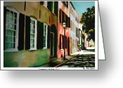 Streets Drawings Greeting Cards - Streets of Charleston Greeting Card by Dale Cogan