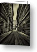 Alley Greeting Cards - Streets Of Madness Greeting Card by Evelina Kremsdorf