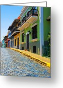 Streets Digital Art Greeting Cards - Streets of Old San Juan Greeting Card by Stephen Anderson