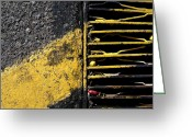 Yellow Striping Greeting Cards - Streets Of Tucson 95 Greeting Card by Marlene Burns