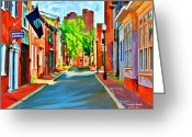 Cityscape Digital Art Greeting Cards - Streetscape in Federal Hill Greeting Card by Stephen Younts