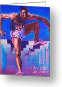 Runner Pastels Greeting Cards - Strenght. Greeting Card by Anastasis  Anastasi