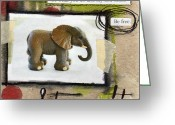 Collage Mixed Media Greeting Cards - Strength Greeting Card by Linda Woods