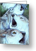 Wolves Mixed Media Greeting Cards - Strength of the Pack Greeting Card by Kathryn  Goolsby