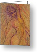 Female Fairy Abstract Greeting Cards - Stretch   Halo Greeting Card by Caroline Czelatko