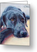 Black Lab Greeting Cards - Stretched Greeting Card by Kimberly Santini