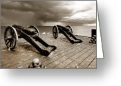 Fyn Greeting Cards - Strib Cannons Greeting Card by Robert Lacy