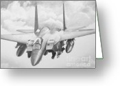 Jet Drawings Greeting Cards - Strike Eagle Greeting Card by Stephen Roberson