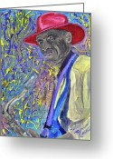 Player Mixed Media Greeting Cards - String Bean Greeting Card by Michael Lee