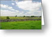 Dry Stone Wall Greeting Cards - Strip Fields South of Litton Greeting Card by Rod Johnson
