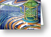 Abstract Card Pastels Greeting Cards - Stripe Factory Greeting Card by Alan Rutherford