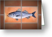 Hand Made Ceramics Greeting Cards - Striped Bass Greeting Card by Andrew Drozdowicz