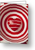 Lines Greeting Cards - Striped heart in bowl Greeting Card by Garry Gay