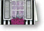 Debbie Brown Greeting Cards - Striped House Greeting Card by Debbie Brown