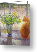 Pussy Greeting Cards - Striped Jug with Spring Flowers Greeting Card by Timothy Easton