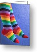 Bold Photo Greeting Cards - Striped socks Greeting Card by Garry Gay