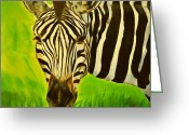 African Animals Painting Greeting Cards - Stripes in Africa Greeting Card by Ruben Barbosa
