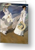Straw Hat Greeting Cards - Strolling along the Seashore Greeting Card by Joaquin Sorolla y Bastida