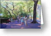 New York City Painting Greeting Cards - Strolling in Central Park Greeting Card by Merle Keller