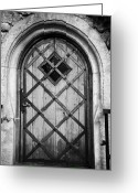 Old Krakow Greeting Cards - Strong Wooden Metal Braced Fortified Door For Strength In Wawel Castle Krakow Greeting Card by Joe Fox
