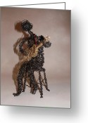 Twisted Wire Sculpture Greeting Cards - Strummin the Blues Greeting Card by Charlene White