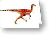 Reptiles Painting Greeting Cards - Struthiomimus Greeting Card by Michael Vigliotti